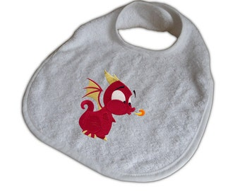 Baby Bib with Dragon embroidered