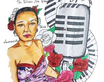 Lady Day Billie Holiday Print / Jazz Art / Jazz Age, Era Artwork / Billie Holiday Art / Lady Sings the Blues / 1940's, 1950's Jazz Artwork