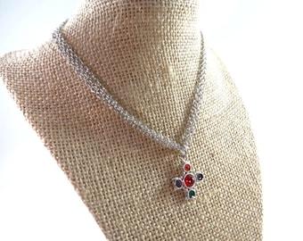 Girls Cross Necklace, Kids Colorful Cross Necklace, Kids Cross Necklace