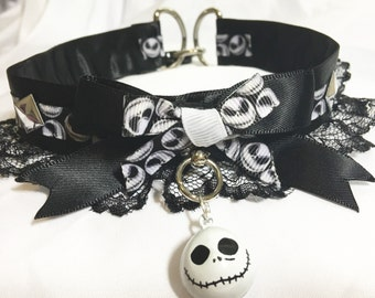 Nightmare before Christmas jack skeleton lace and silver studded collar