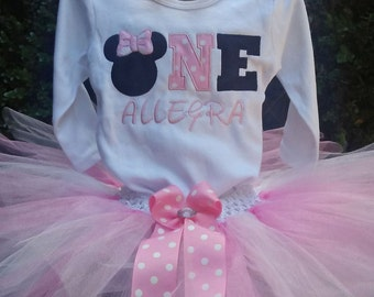 One Minnie Mouse 1st Birthday Outfit One Birthday Shirt One Birthday Onesie One Minnie Mouse Birthday Outfit Personalized Shirt