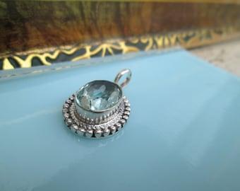 Pendant, materials:  blue quartz, white metal, silver plated.