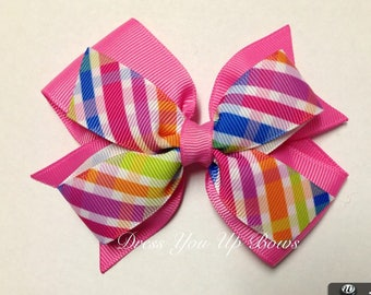 "4"" rainbow plaid hot pink blue orange purple lime hair bow clip birthday party favor stacked baby toddler teen spring summer preppy bow"
