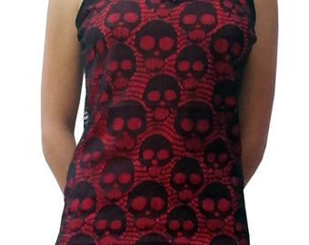 Gothic Lady Top Red Black Skull Net