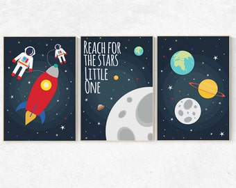 Reach for the stars little one, Space nursery decor, Space themed nursery, outer space, boys room wall art, baby boy, playroom, kids room