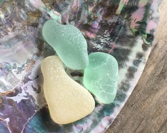 Yellow and seafoam sea glass