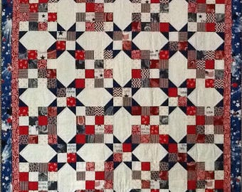 Large square floor quilt for baby. Red, white and blue patriotic quilt