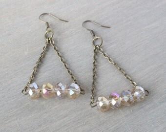 Triangle Hoop Bronze Earrings - Taupe Earrings, Boho Earrings, Bohemian Earrings, Dangle Earrings, Everyday Earrings, Bronze Jewelry, Boho