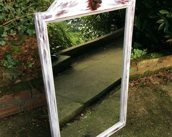 Beautiful distressed mirror shabby Chic mirror with deer head