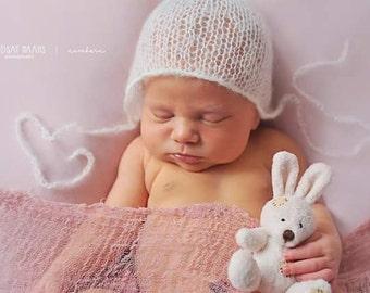 Cream Mohair Bonnet,Newborn Bonnet,Newborn Photo Prop,Newborn Hat,Photo Prop,Mohair Hat,Photography Prop,Mohair,Baby Bonnet,Bonnet,Baby