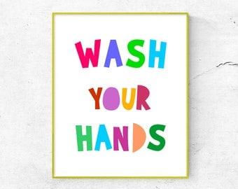 Wash Your Hands Printable Colorful, Kids Bathroom Decor, Scandinavian Nursery Wall Art, Bathroom Wall Art, Bathroom Poster (W0165)