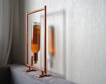 COPPER BOTTLE HOLDER 20 - industrial wine holder - industrial wine display - kitchen furniture - bar furniture - wine display