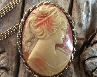 Vintage Peach and Ivory Cameo Necklace with Brooch Option Victorian Female Pin Jewelry Gold Toned Beauty