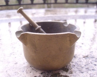 Solid Bronze French Small Pestle & Mortar