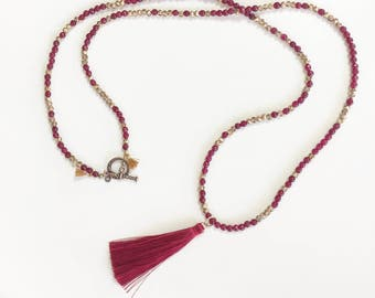 Garnet Beads  with  Gold Crystals   Necklace with long tassell