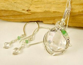 Set of NY Herkimer Diamond + Peruvian Opal Pendant and Earrings - Clear Herkimer Diamond Jewelry - Herkimer Crystal Green Opal Jewelry set