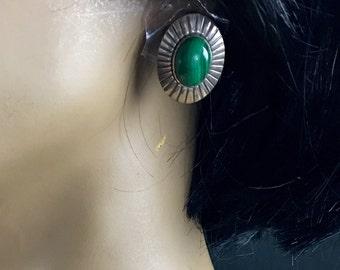 Vintage Navajo Malachite 925 Sterling Silver Earrings Pierced Concho Earrings Native American Southwestern Post Earrings