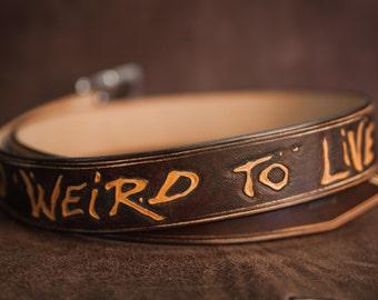 Leather belt Custom hand tooled belt - Fear and Loathing in Las Vegas