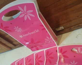 Doll Party, Gift Bags Boxes, Birthday for Girl, Treat Goody Party Favors Party Decor, Set of 8, Pink and White, Cardboard