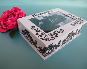 Black and white wedding box, photo memory box, handmade wooden frame box, anniversary box, keepsake box, wedding gift,black and white decor