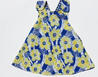 Blue and Yellow Flowers Handmade Reversible Sundress for Infants and Toddlers