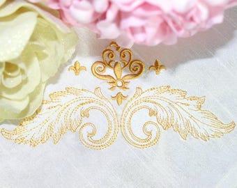 Machine Embroidery Design - Baroque Vintage  Corner #2  Machine Embroidery Design -  3 sizes