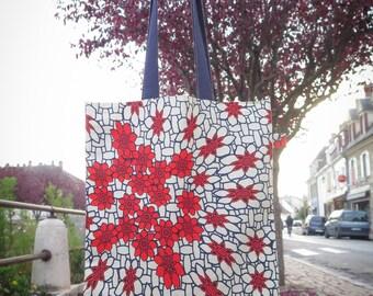 Tote bag Kiwon - blue floral patterns red, cream and denim cloth bag Navy