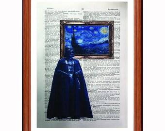 Darth Vader vs Van Goch - dictionary art print home decor present gift Star Wars - Starry Night