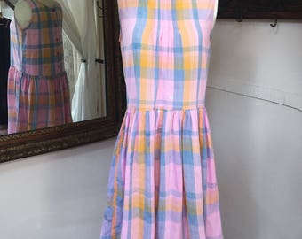 Vintage Prairie Dress // Gingham Dress // 80's 80's Sun Dress