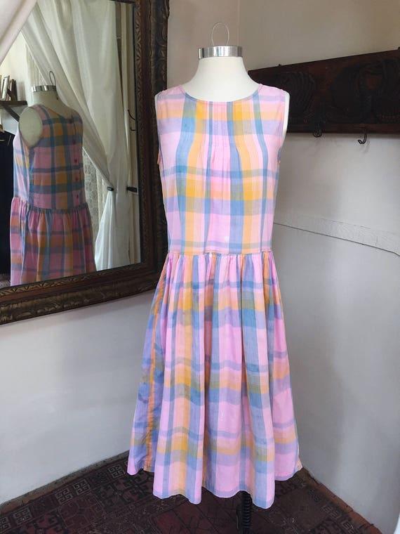 Vintage Prairie Dress // Gingham Dress // 80's 80's Sun Dress