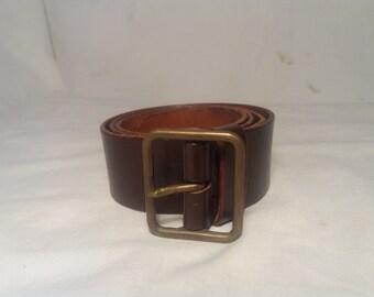 Vintage 1976's Swiss Army Dark Brown Leather Officer's Belt - NEW