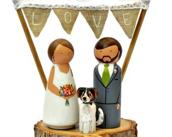Wedding Cake Topper with Dog. Personalized Pet Cake Topper. Custom Wedding Cake Topper with Cat. Peg Doll Cake Topper Pet. Animal Topper.