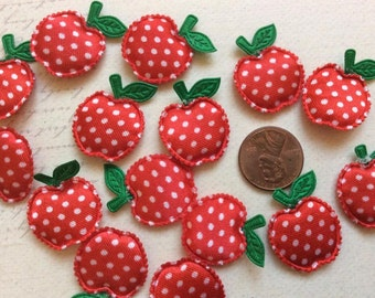 SET of 20 Padded Satin Red with White Polka Dotted Apple Appliques/ trim/ DIY/Embellishments/hair bow centers