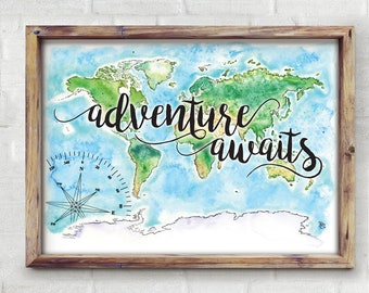 Adventure Awaits World Watercolor Map - Giclée Print of Hand Painted Original Art