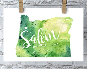 Custom Oregon Map Art, Oregon Watercolor Heart Map Home Decor, Salem or Your City Hand Lettering, Personalized Giclee Print, 5 Colors