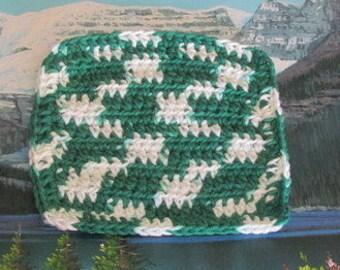 Hand crochet cotton dish cloth 6.5 by 6.5 CDC 070