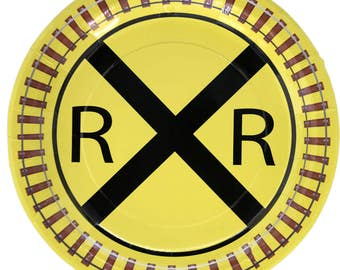Railroad Party Plates/Train Party Supplies/ Train Party Plates/Railroad Party Plates  8 Pack