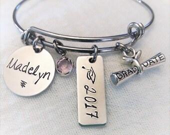 Personalized Graduate Bracelet, Graduation Jewelry, 2017 Graduation Bracelet, Gift for Graduate, Hand Stamped Gift, Senior Gift,Gift for her