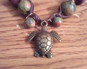 Rad Handmade Turtle Necklace With  Unakite and Wood Beads