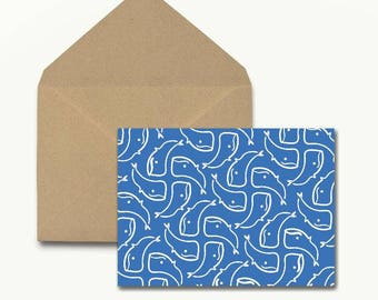 Blue Whales Note Cards - Box of 10 With Envelopes