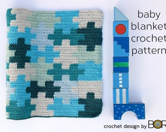 crochet baby blanket pattern with puzzle, easy, diy, blue, cotton yarn, handmade