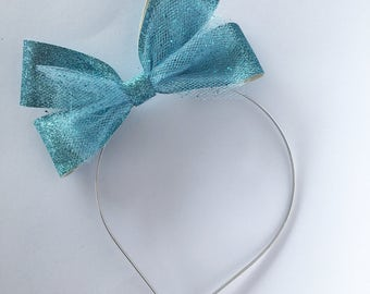 Blue glitter bow, tulle bow hard metal headband with rubber tips