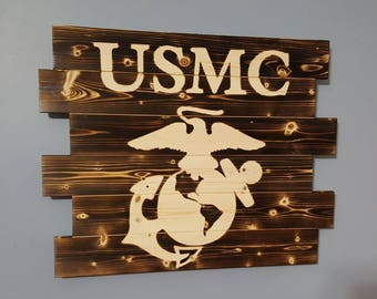 United States Marine Corps USMC Wooden Rustic Wall Art