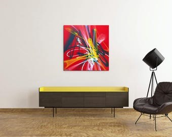 Canvas painting modern art red abstract canvas contemporary street art spray