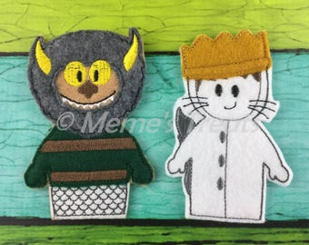Set of 2 Storybook Finger Puppets Inspired by Where the Wild Things Are