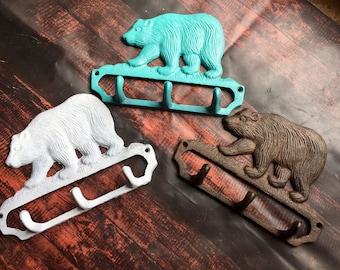 Bear cast iron key holder, bear wall hook, cast iron bear hook, bear key holder, rustic home decor, rustic cast iron, woodland decor