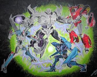 Transformers Prime Decepticons Fanart Acrylic Painting Print