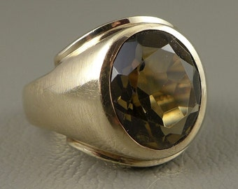 Mens Gold Smoky Quartz Ring, 10K Gold Mid-Century Quartz Ring, Chunky Mens Gold Ring