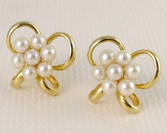 Gold Pearl Earrings, Vintage 14K Gold Pearl Bow Earrings, 14K Gold Pearl Cluster Earrings