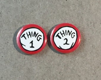 Dr. Suess The Cat in the Hat Thing 1 Thing 2 - 1 Inch Pinback Button Pin Badge Set
